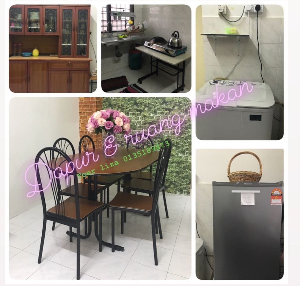 Kitchen and dining area. Guest are allowes to cook only halal food. Stove, refrigerator and washing machine situated in this area.  Sink also provided.