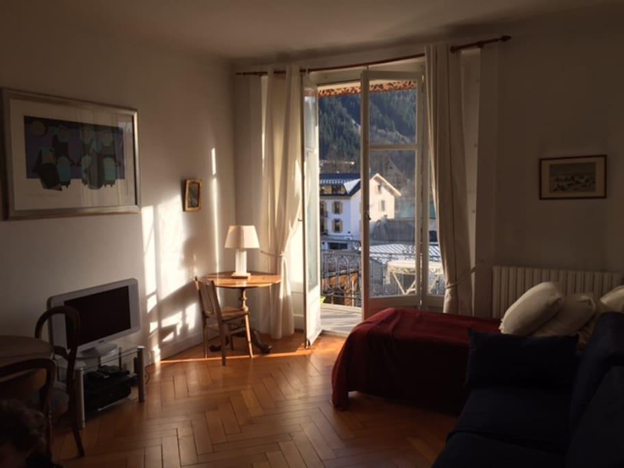 Salon avec balcon vue Mt Blanc, Hifi, bibliothèque