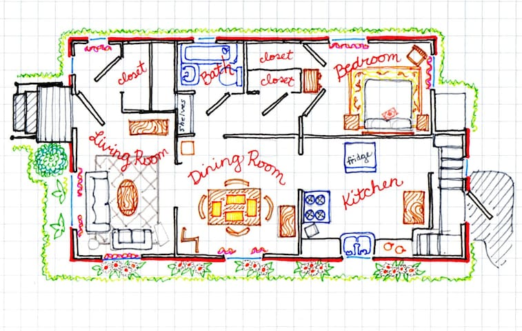 Here's a sketch of the floorplan. The front door is on the left side of this drawing, and that door faces west. Guest parking is in the driveway at the rear of the house, and guest entry is through the back door.
