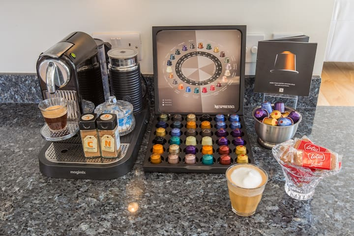 COMPLIMENTARY NESPRESSO COFFEE to make your own expressos, cappuccinos or lattes.