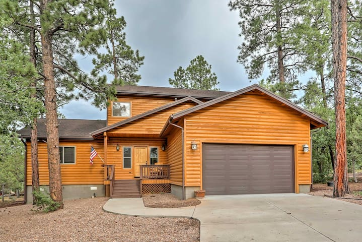 Rustic Pinetop Home w/Wood Views, Fire Pit & Grill