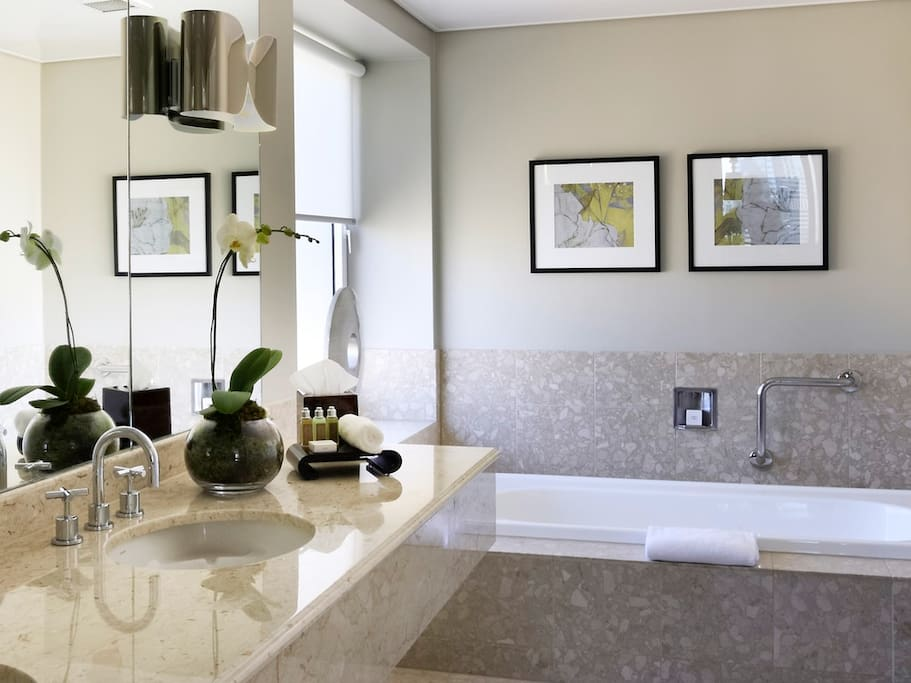 Marble Bathroom with Separate Bath & Shower