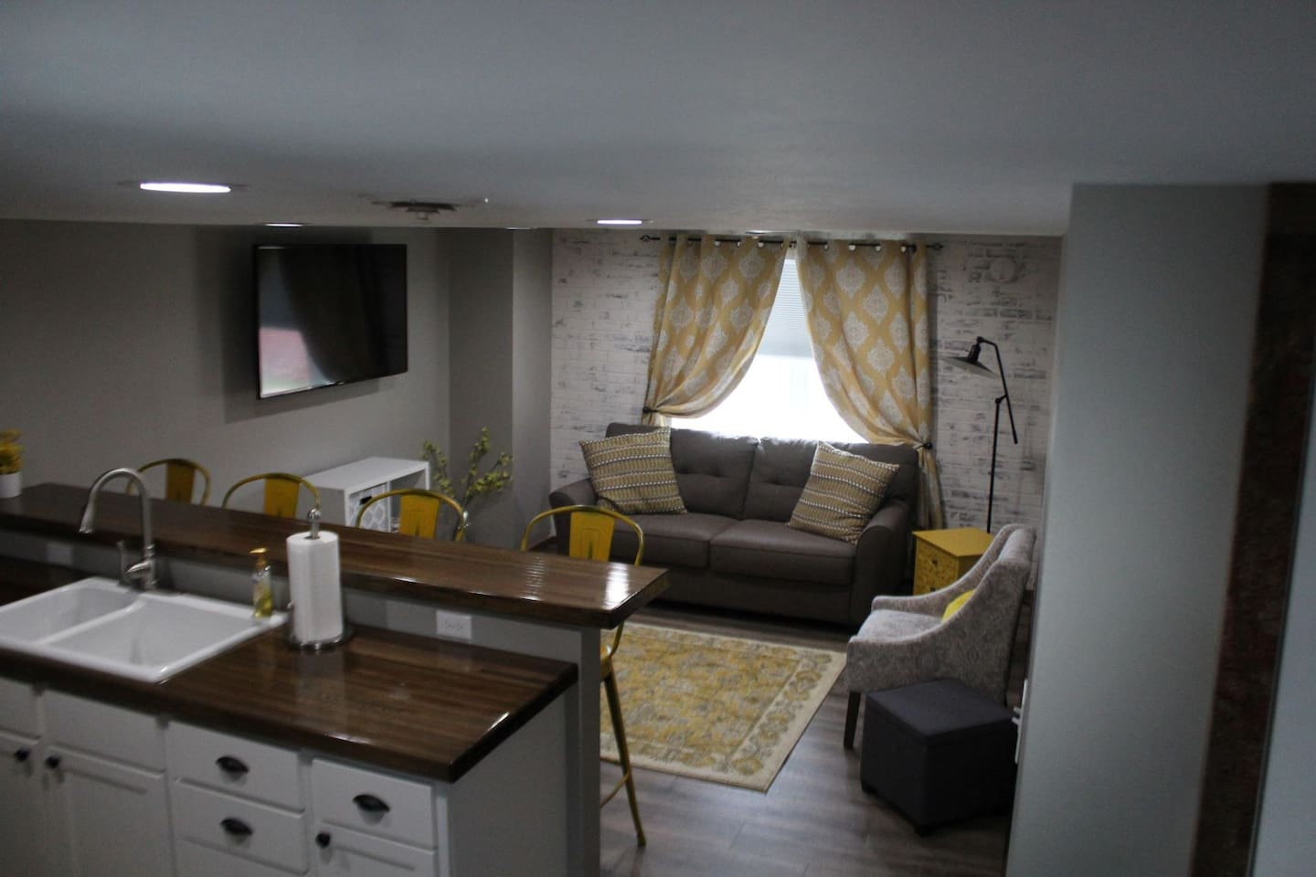 """View of Living Room with 55"""" LED Television"""