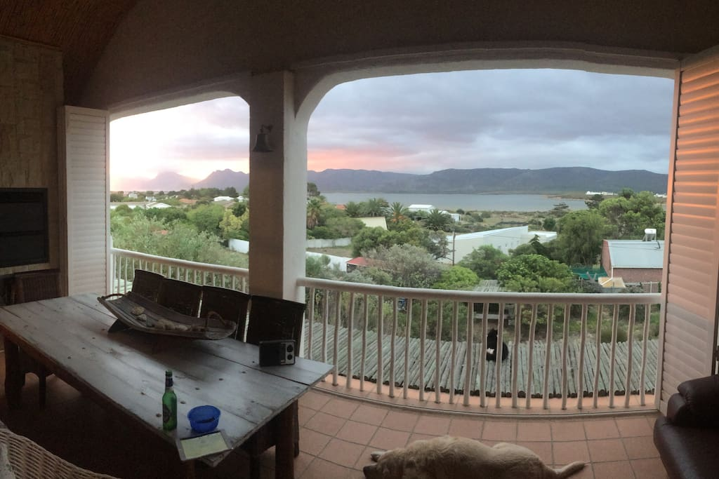 Upstairs verandah with magnificent view of the Botriver Lagoon.
