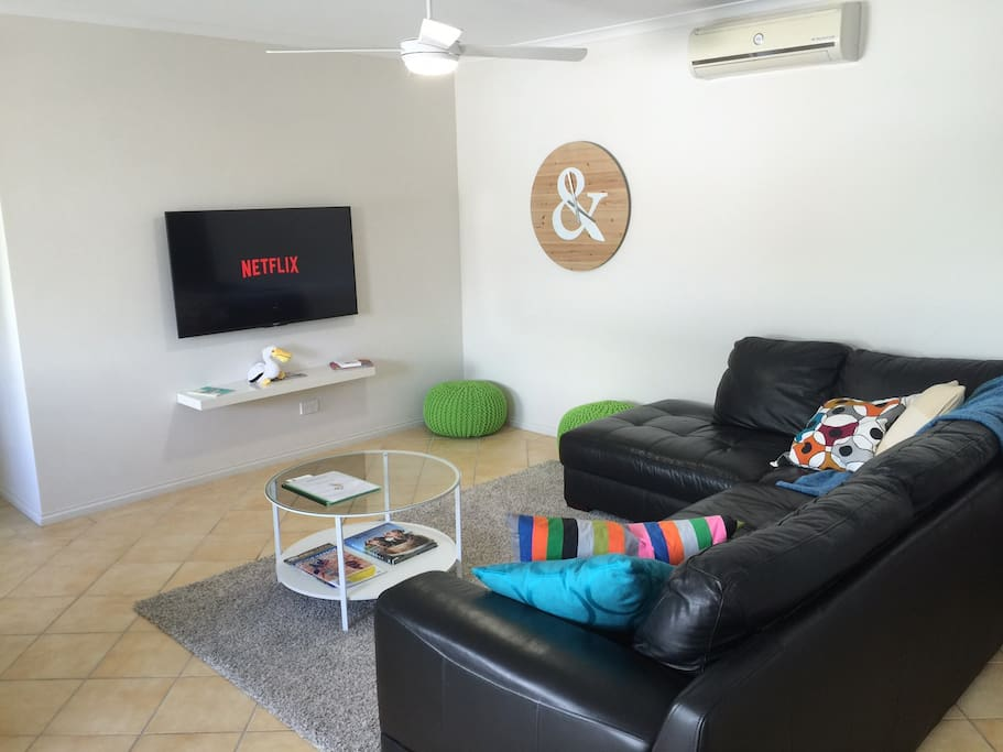 Comfortable lounge and large screen TV with Netflix