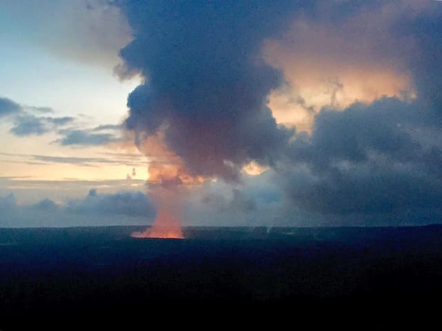 View of eruption from Uncle George's lounge inside Volcano House in the park  - now view has changed - new photo below