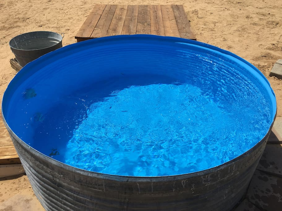 Repurposed water silo dipping pool.