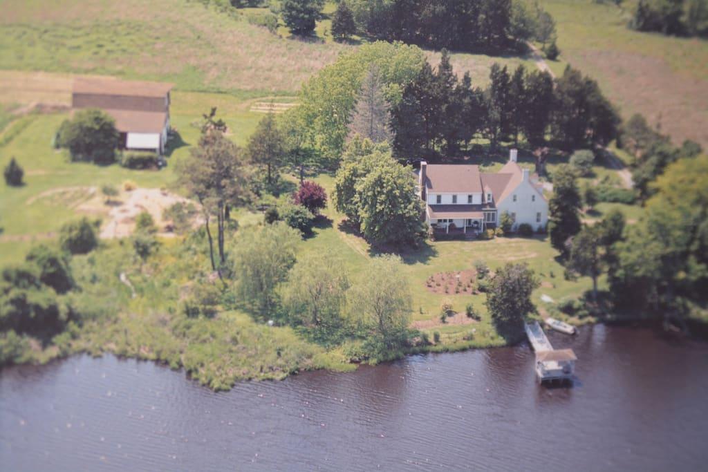 Aerial view of house, dock