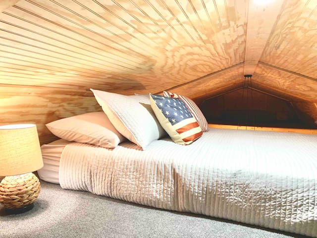 Sleeping Loft. Double Bed. ** For sleeping only.
