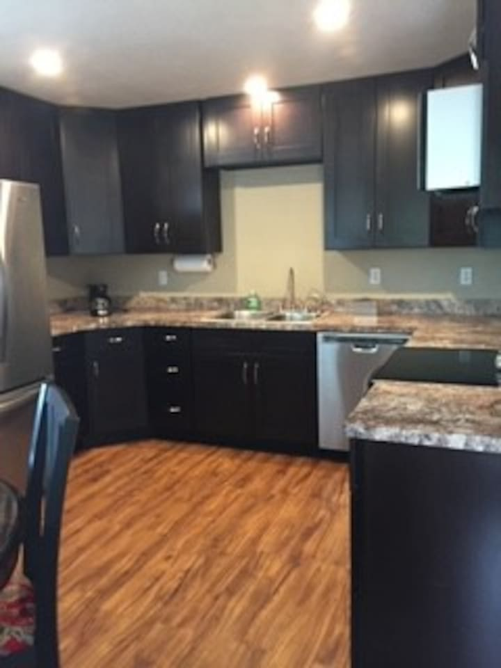 Granite counter, stainless steel appliances, plenty of cabinet space.