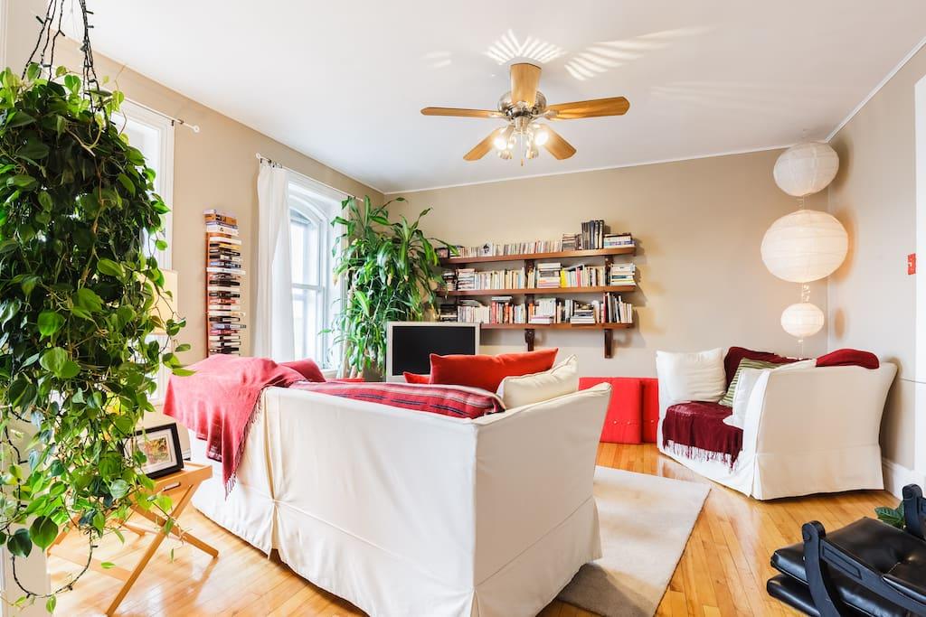 Le spacieux séjour garni de confortables sofas rembourrés de plumes (Mmmm!), d'une petite bibliothèque raisonnablement garnie de livres et DVD, d'un écran sur lequel on peut brancher un ordi (câble HDMI/Thunderbolt), d'un lecteur DVD et de quelques plantes vertes. :)