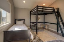 Lofted Double Bed and Twin Bed, View of Backyard