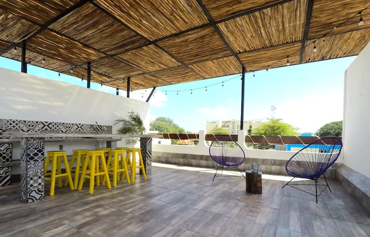 Lounge area on the rooftop with wifi