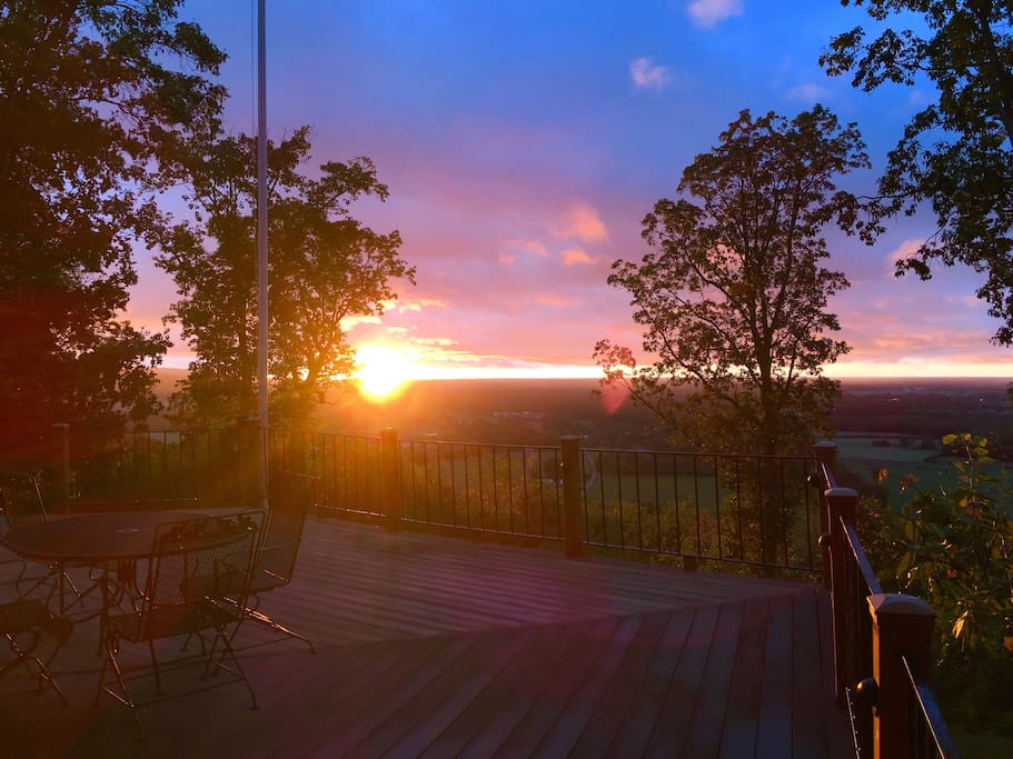 Evening sunsets viewed from Pelham Pointe's expansive deck are simply stunning - colors melt from the sky into the distant horizon.
