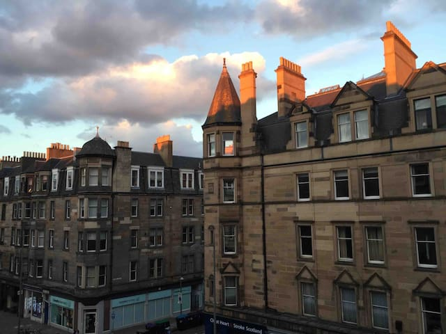 Evening view of Bruntsfield Place from living room and bedroom.