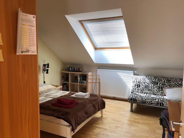 Gästezimmer 1 - Doppelbett mit couch und arbeitsplatz / Guestroom 1 - double bed with sofa and working space