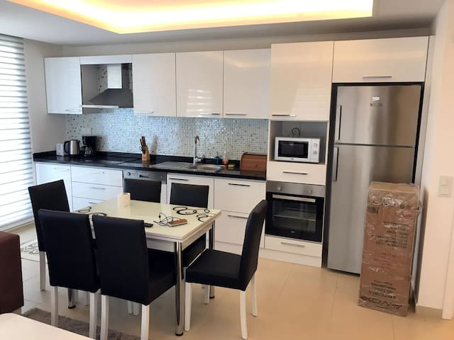 Fully equipped kitchen with dishwasher, stove, oven, microwave etc.