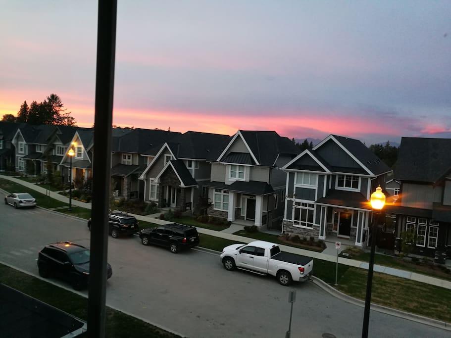 Sunset mountain view