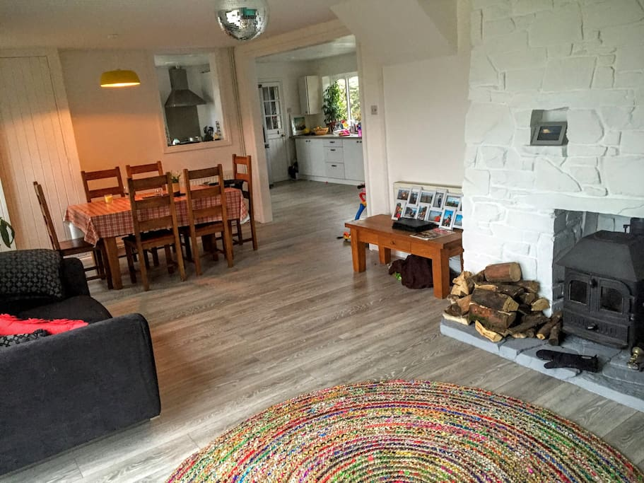 Wood burner and large family friendly space