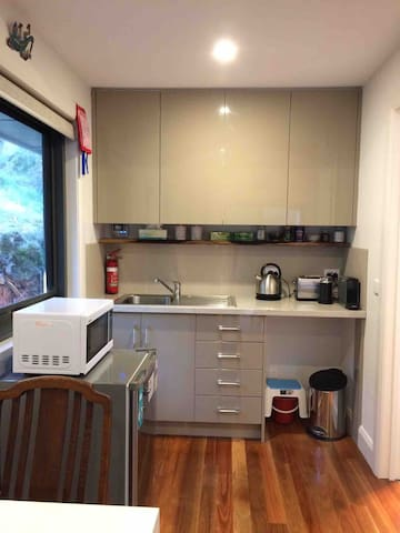 Kitchen with sink, fridge, Nespresso coffee machine (and frother) kettle, toaster and cooking facilities