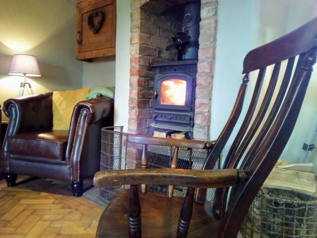 Living room and wood burner