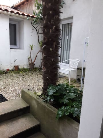 """Arrivée dans la """"cour du palmier"""" N5 à droite"""