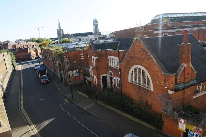 View over the old Iveagh Markets, St. Patrick's cathedral and St. Nicholas church.