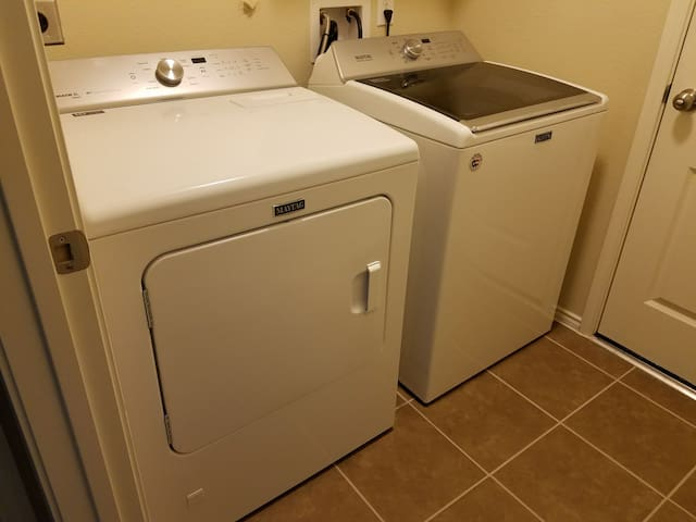 Full size washer and dryer for your laundry needs.