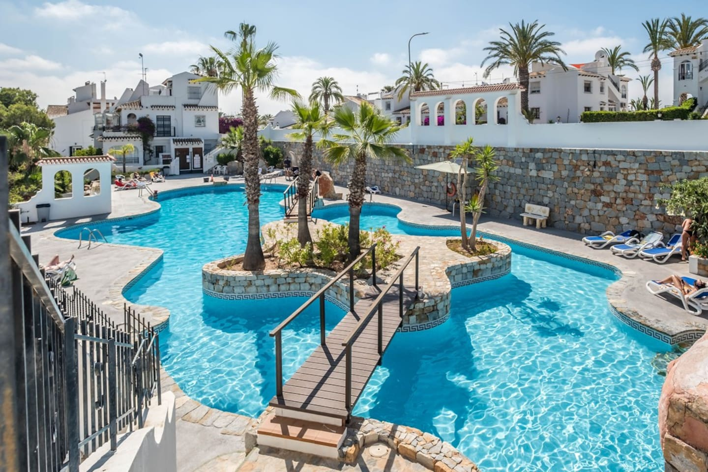 Beautiful enclosed pool area with life guard on duty during June, July & august.  Just  a few meters from the apartment.  Located in an area within 5 minutes drive of 3 top golf courses - Las Ramblas, Campoamor and Villamartin.