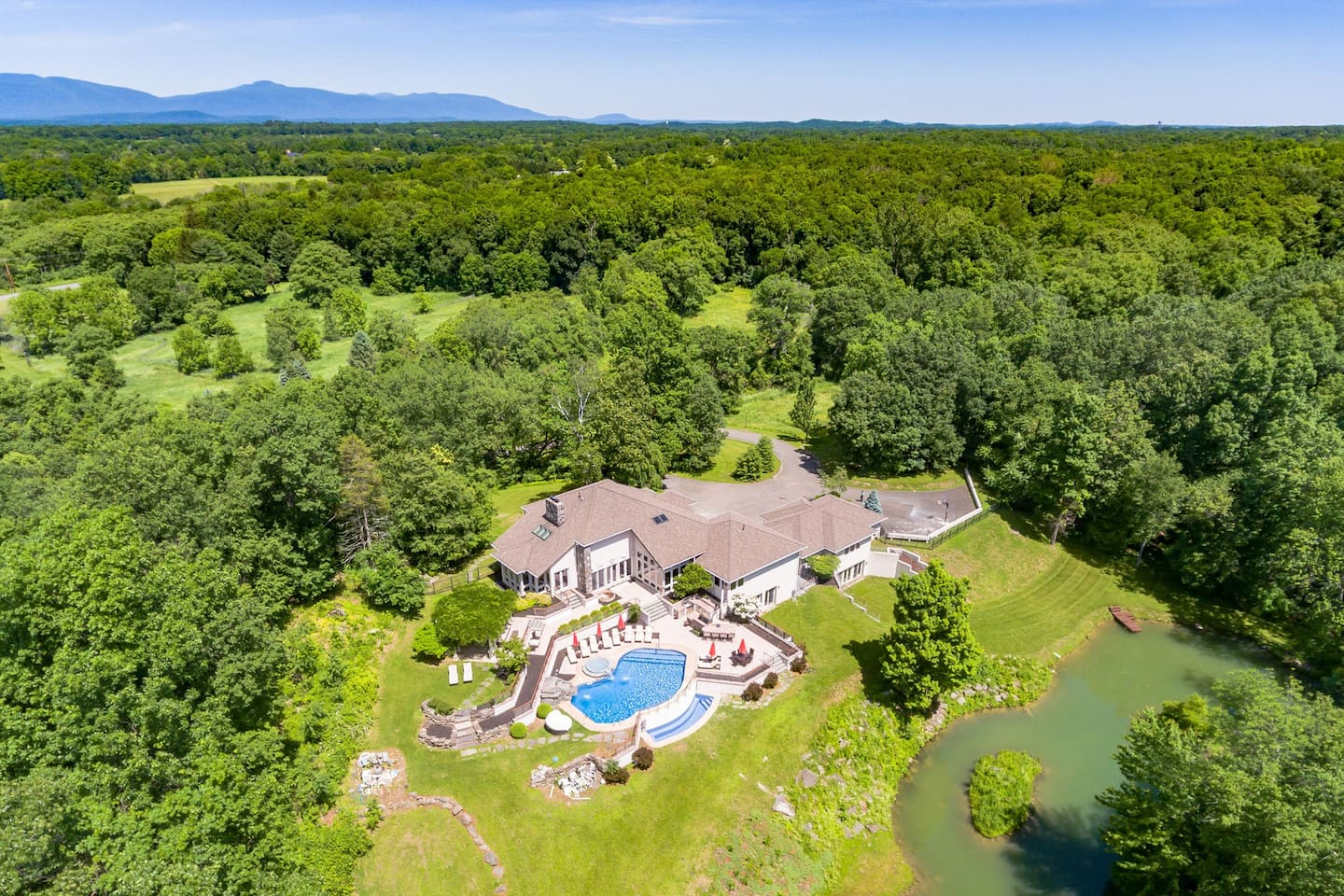 Aerial view-Exclusive Private 31 Acres Luxury Estate, Catskills Mountain Views in Background.