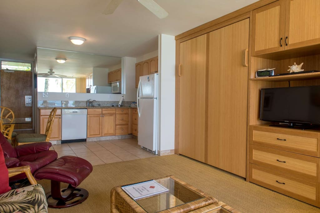 Fully Equipped Kitchen in the this Studio - Large Flat Screen TV