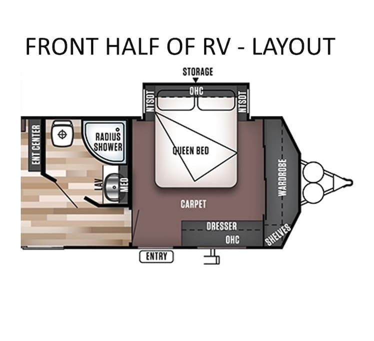 FRONT layout of the RV (3 beds 2 baths total).  Bed #1 in the front has a Queen bed and bathroom #1 is a full bathroom (shower/toilet/sink)