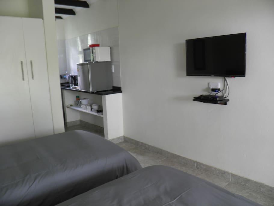 DSTV and kitchenette