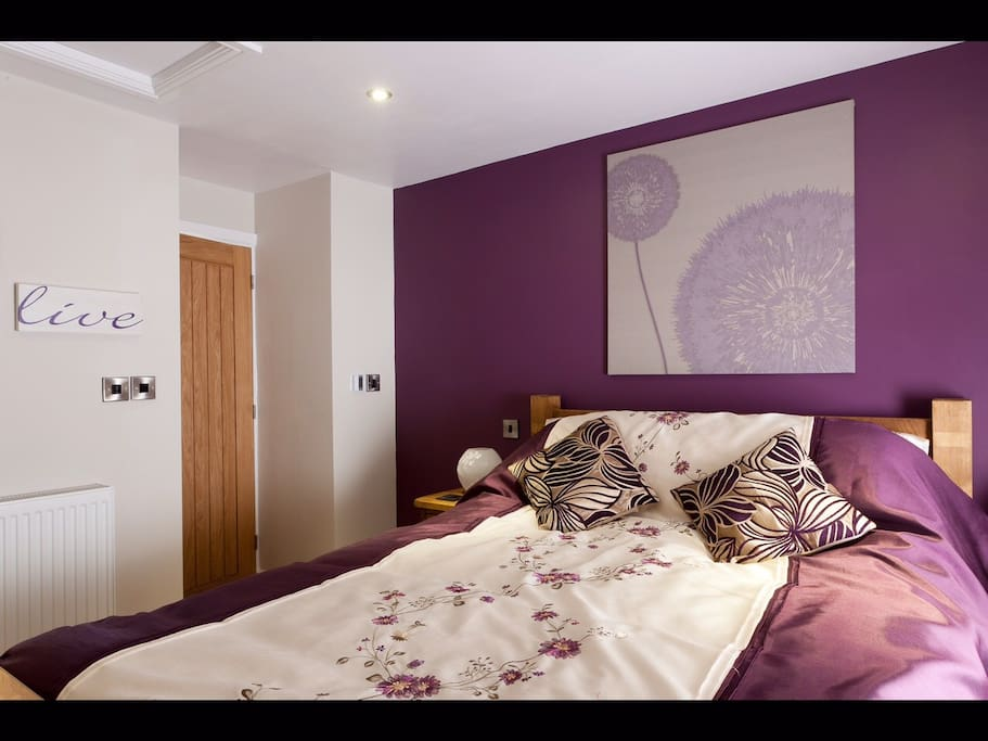 The King size bed in the double room - doorway through to en suite