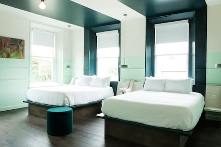 Windows above the bed allow for great natural light!