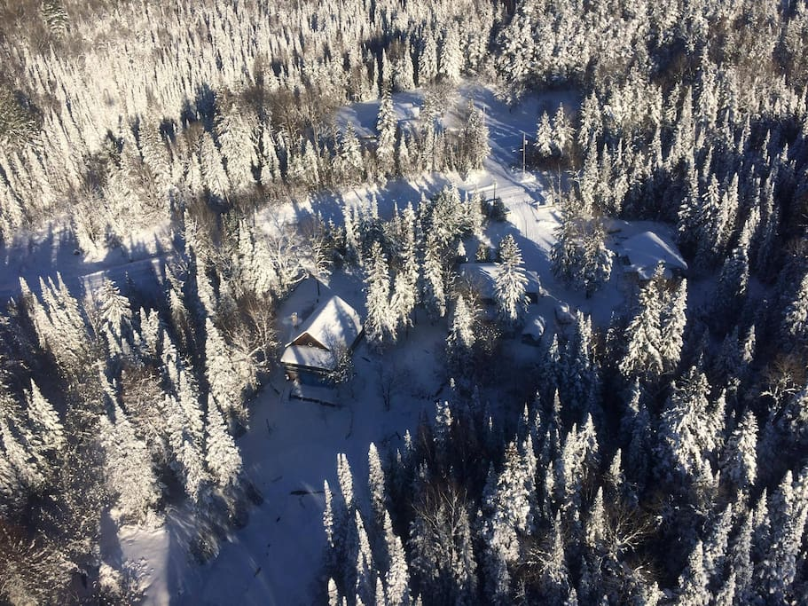 Very secluded winter wonderland. The guest house is snuggled in among the trees on the right side of picture. It is up a hill and seperated by a garage from our home. Technically sits on its own acre parcel