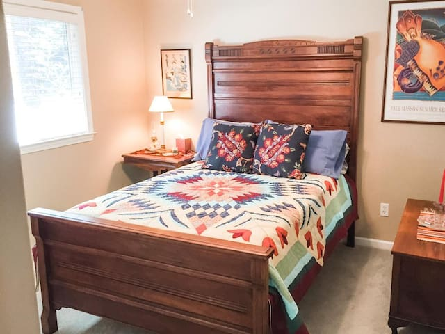 Six foot headboard antique East Lake double bed - extended side boards for adding length.