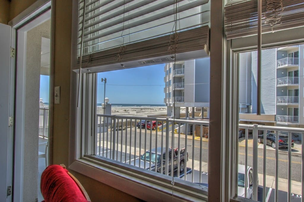 The beach view from inside our condo-yep that's the beach right outside our window!
