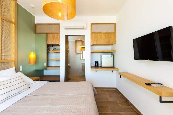 "First floor bedroom offers a 32"" HDTV"