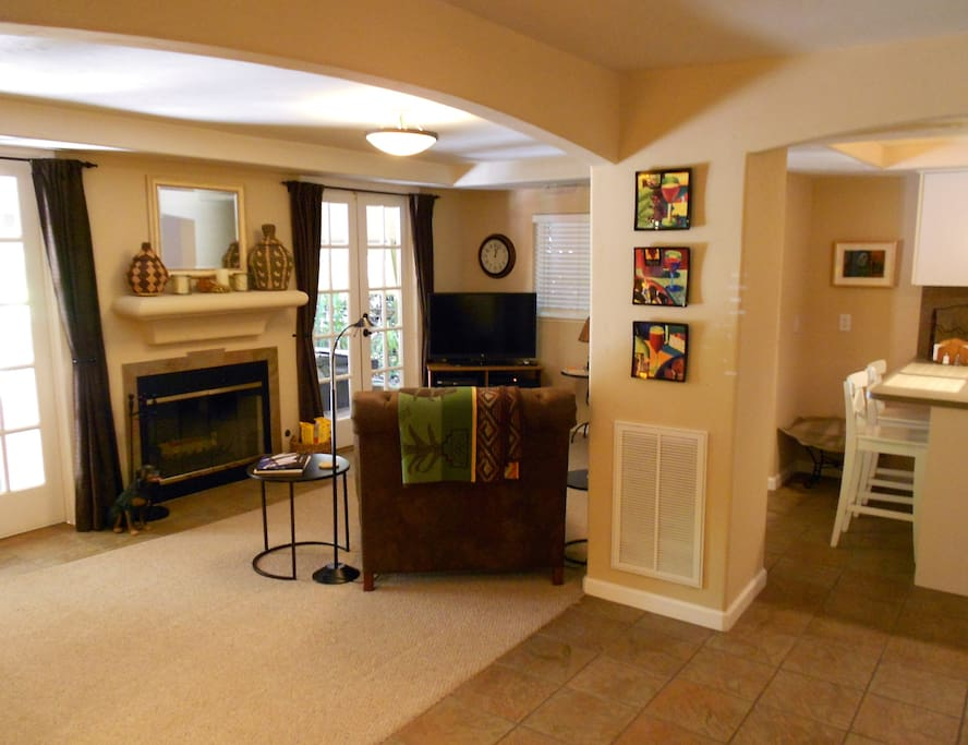 Private den which includes fireplace, tv/dvd, cable music