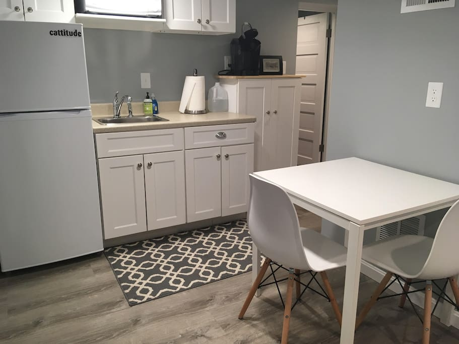 Kitchenette with Keurig and dine in space