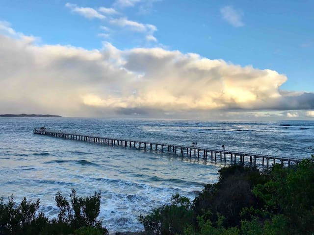 A long pier walk on a cool day at Point Lonsdale, or a perfect day for fishing.