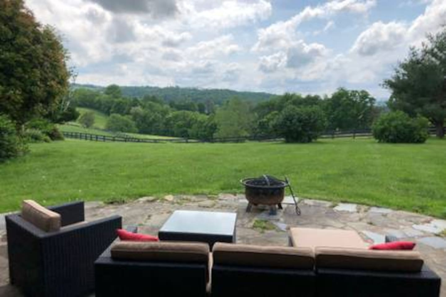 Patio overlooking our pastures and farm