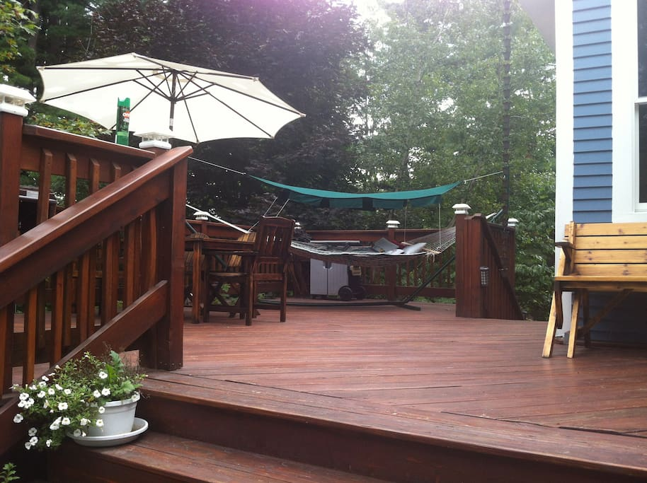 Large deck has a hammock, BBQ, table and chairs for you to use if you'd like.
