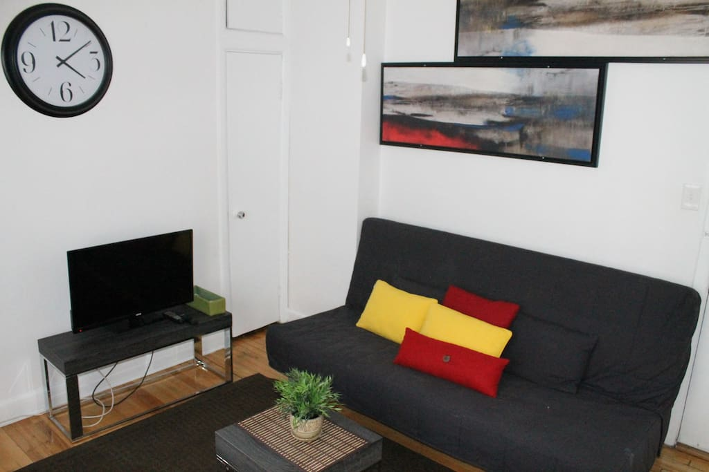 Spacious Living Room with the Futon Sofa Bed