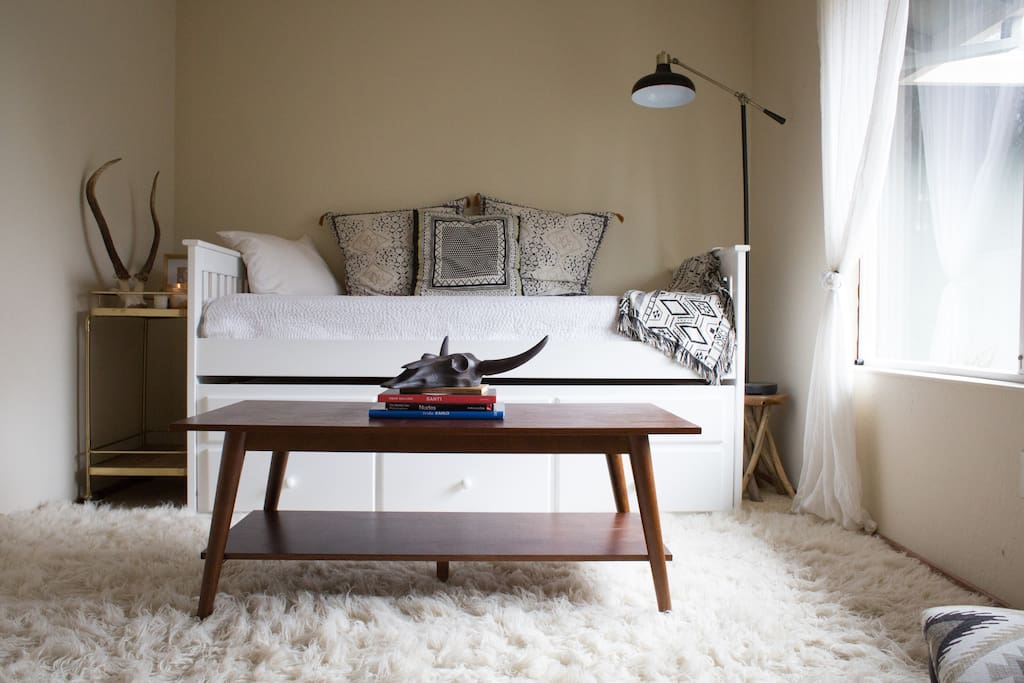 Guest Room view: Comfy Daybed with a single top mattress and double bottom mattress