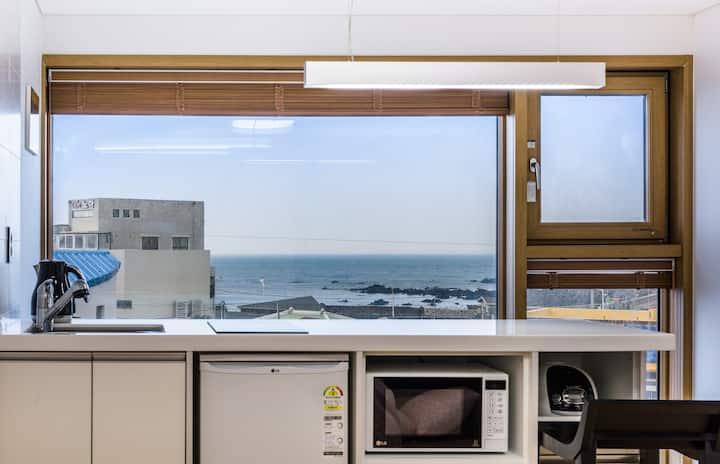 Jeju blue ocean and sky view OLLE VIEW in Samyang