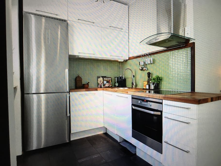 Kitchen with washer and micro