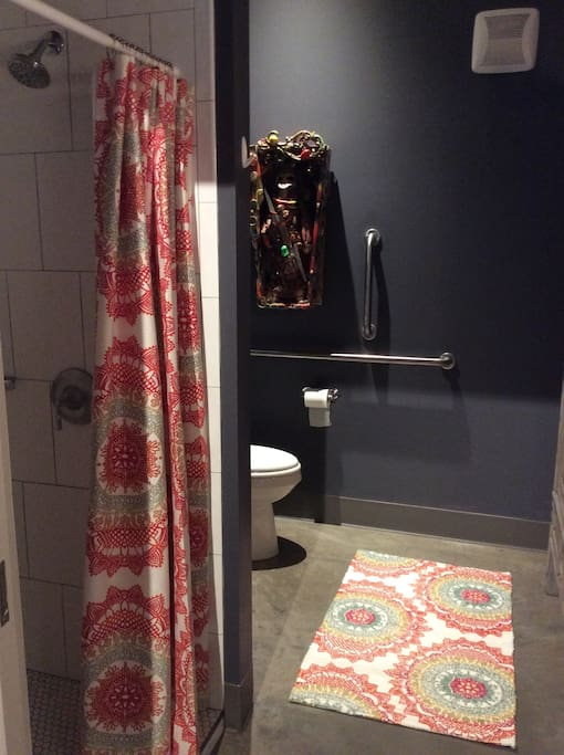 Handicap accessible. Shower only. Spa quality towels,all toiletries provided.