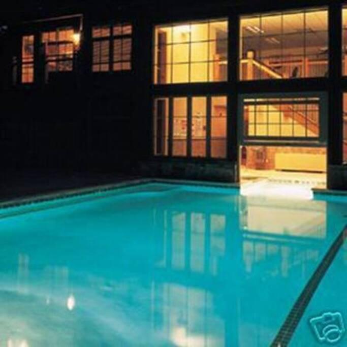 Heated indoor outdoor pool in Building 1